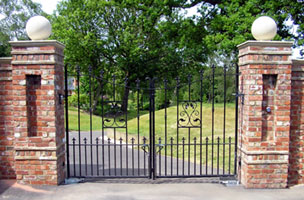Garden gates. electric gates, automatic gates, security gates, wrought iron fencing and railings. Call J F Fabrications Chesterfield for a free quote.